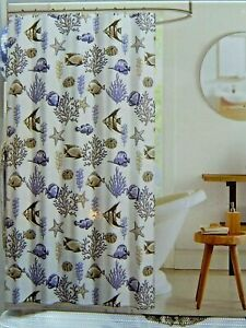details about deep sea fabric canvas shower curtain fish starfish