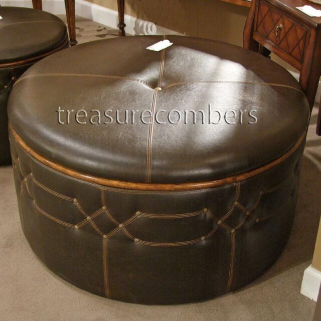 round brown faux leather storage ottoman