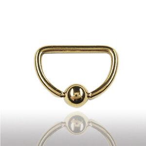 1,6mm GOLD D-Ring Ohr Intim Brust Piercing Klemmkugel Ring VERGOLDET