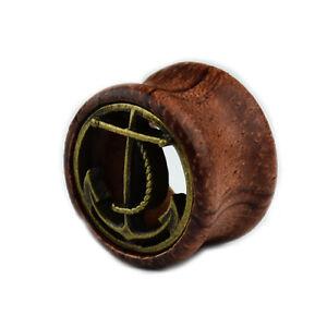 Holz Anker Bronze Double Flared FleshTunnel Plug Ohr Piercing Braun Natur 8-20mm