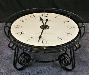 details about gorgeous howard miller clock coffee table with cast iron base used