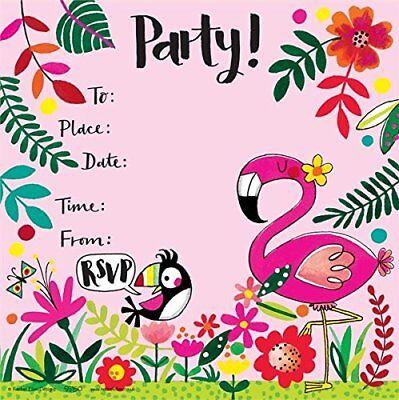 flamingo theme party invitations girls birthday glitter invites tropical 8 pack ebay