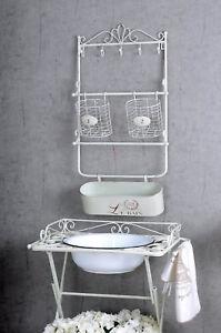 details sur etagere murale shabby chic salle de bain blanc fer panier