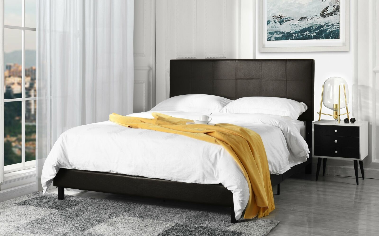 Queen Size Modern Dark Chocolate Brown Faux Leather Upholstered Platform Bed Fra For Sale Online Ebay
