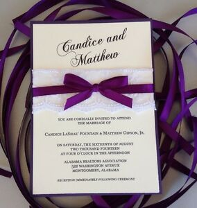 Details About Set Of 50 Dark Purple Ribbon And Lace Wedding Invitations