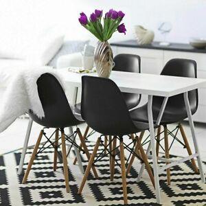 details sur chaise salle a manger scandinave lot de 4 design pour table cuisine blanc noir