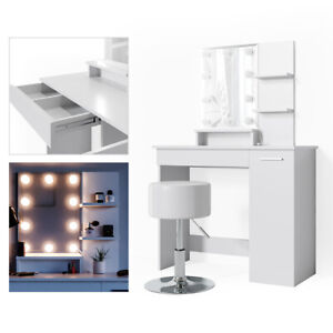 Vicco Table De Maquillage Julia Coiffeuse Avec Miroir Blanc 10 Lampes Led Ebay
