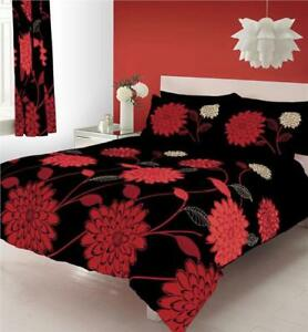 details about king size duvet quilt cover bed set black red big flower print duvet set