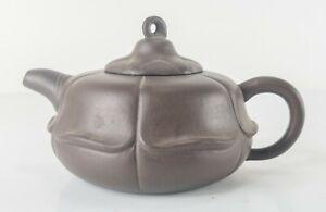Antique Vintage Chinese Yixing Zisha Lotus Form Teapot Signed Seals