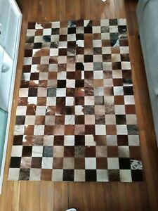 details sur tapis patchwork peau de vache neuf
