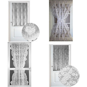 details about luxury lace door curtains choice of white or cream full or half door