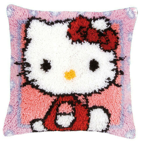 new latch hook pillow kit red hello kitty 15 7 x 15 7 inches