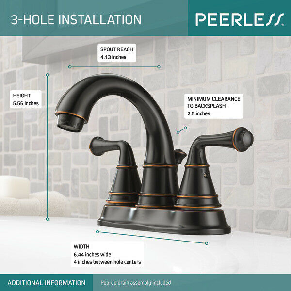 peerless p99790lf ob apex two handle bathroom sink faucet oil rubbed bronze
