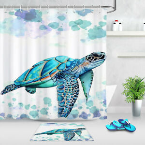details about watercolor green sea turtle shower curtain hooks bathroom accessory sets