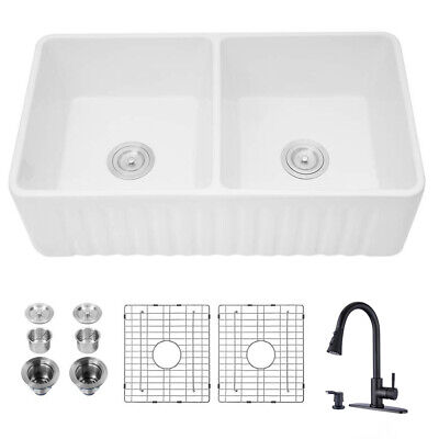 farmhouse double bowl ceramic kitchen sink with pull out kitchen faucet black ebay