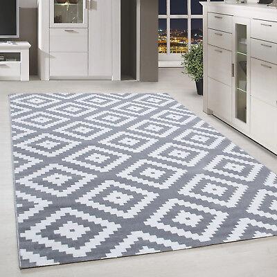 a poils ras tapis antiques a carreaux motif gris blanc mouchete tapis salon ebay