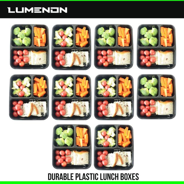 10 Meal Prep Containers Plastic Food Storage Reusable Microwavable 3 Compartment 2