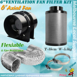 details about hydroponics silent 6 inline exhaust fan carbon filter ducting ventilation kit