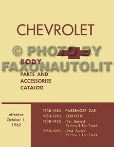 19571963 Chevy Body Parts Book Catalog Illustrated