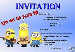 details sur 5 ou 12 cartes invitation anniversaire les minions ref 252