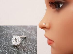 925 Silber Nasenpiercing Nasenstecker Nasenring Stecker Piercing Rund Neu Echt