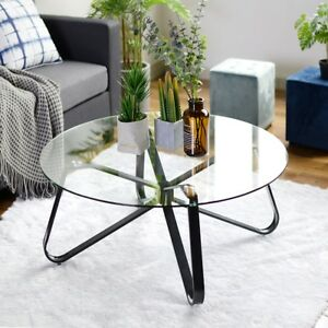 round glass coffee table tempered glass