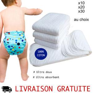 details sur lot 10 inserts coton pour couche lavable changes bebe reutilisable doux pas cher