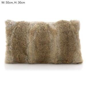 details about beige tan brown rectangle real genuine rabbit fur cushion pillow 30x50cm