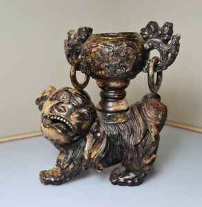 A Superb Qing Dynasty Soapstone Censer Depicting A Guardian Lion Carrying An Urn