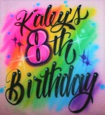 Airbrushed Girls Happy Birthday Party T Shirt Personalized 5th 6th 7th 8th Tutu Ebay
