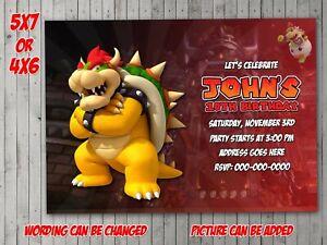 details about bowser digital invitation party birthday invite evite super mario