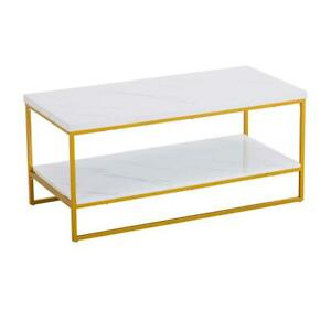 details about home office marble coffee table gold metal frame living room furniture white new
