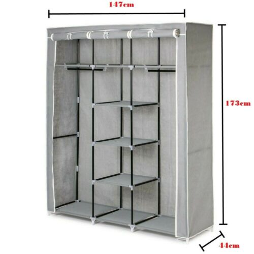 wardrobes wardrobe canvas clothes large foldable cupboard storage organiser shelving home furniture diy quatrok com br