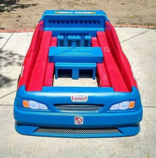 step 2 kids red blue racecar bed toddler and twin size