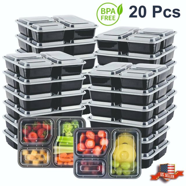 20Pcs Meal Prep Containers 3 Compartment Food Storage Reusable Microwave Plastic 2