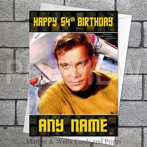 Star Trek Captain Kirk Personalised Birthday Card 5x7 Inches Original Ebay