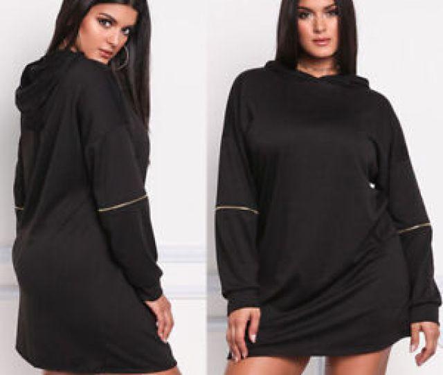 Image Is Loading Women Plus Size Hooded Sweater Dress Long Sleeve