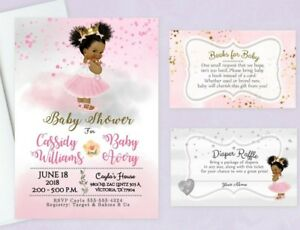 Details About Baby Shower Invitations Princess Tutu Diaper Raffle Book Cards Insert Qty20