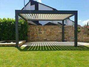 details zu lamellendach aluminium pergola pavillon sonnenschutz 400cm x 400cm