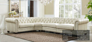 details about new chesterfield 4 part sectional sofa top grain creamy ivory leather rh style