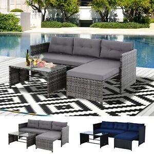 details about outsunny 3 piece patio furniture set rattan sectional wicker sofa lounger