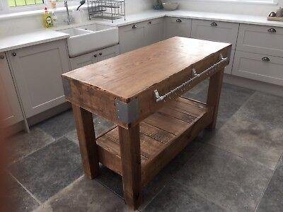 Huge English Oak Butchers Block Kitchen Island Table Storage Furniture Vintage Ebay