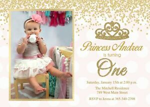 details about princess birthday invitation first one 1st birthday girl pink gold