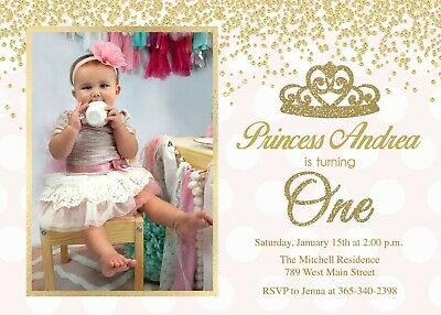 Princess Cumpleanos Invitacion En Primer Lugar Uno 1st Cumpleanos Nina Rosa Oro Ebay