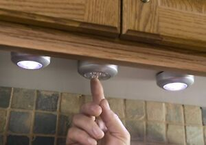 details about led push lights battery powered 1 12 round cupboard shed bed room shelf wardrobe