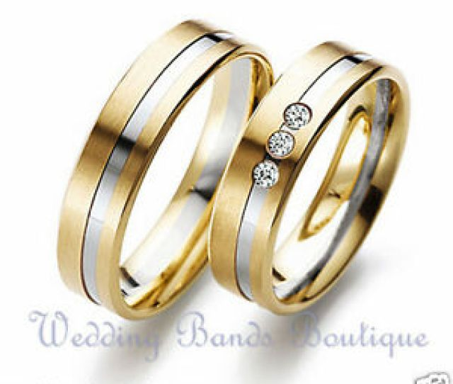 Image Is Loading K Two Tone White Yellow Gold His Hers