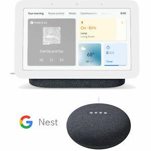 Google Nest Hub Display Gen 2 (Charcoal) + Google Nest Mini 2nd Gen (Charcoal)