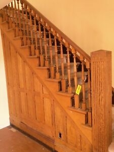 Vintage Oak Staircase Architectural Salvage Antique Balusters | Antique Handrails For Stairs | Newel Posts | Wrought Iron Stair | Antique Wood | Antique Green | Wood