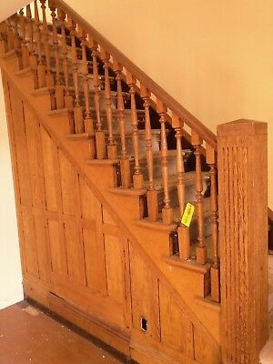 Vintage Oak Staircase Architectural Salvage Antique Balusters | Handrail To Newel Post | Fasten | Baluster | White Oak | Glass Balustrade | Landing