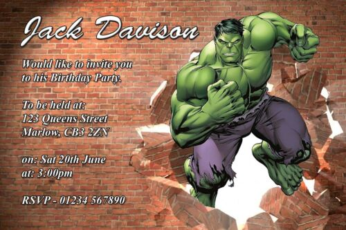 personalised marvel hulk party invitation cards with free envelopes birthday